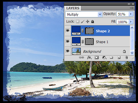 Two Shape layers with vector image frames