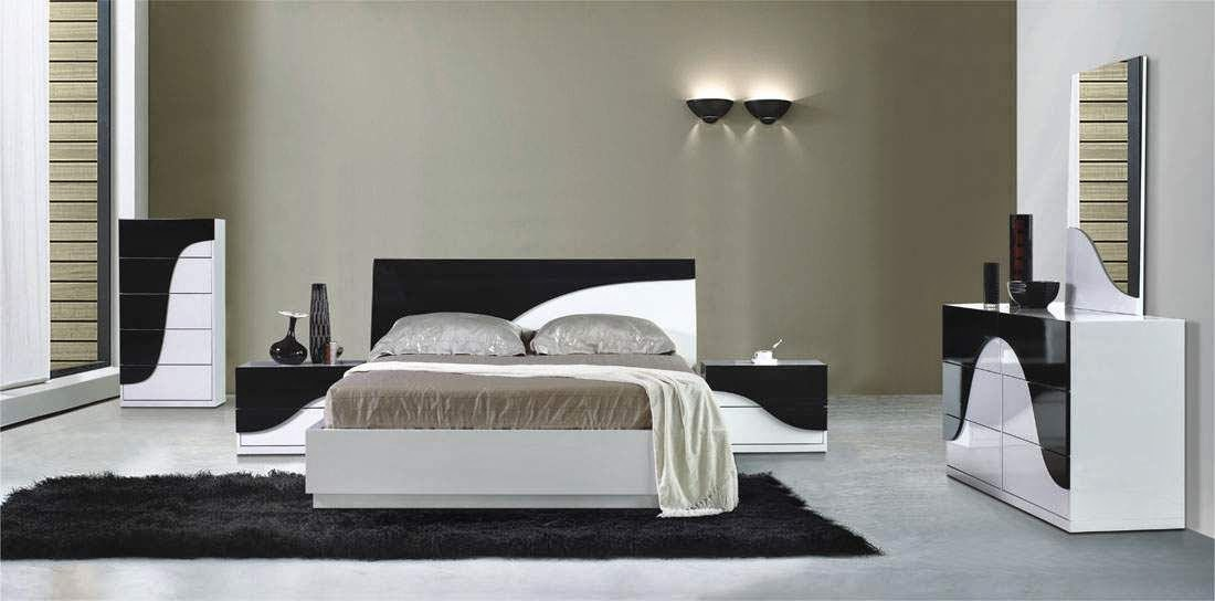 id e d coration chambre noir et blanc id es d co moderne. Black Bedroom Furniture Sets. Home Design Ideas