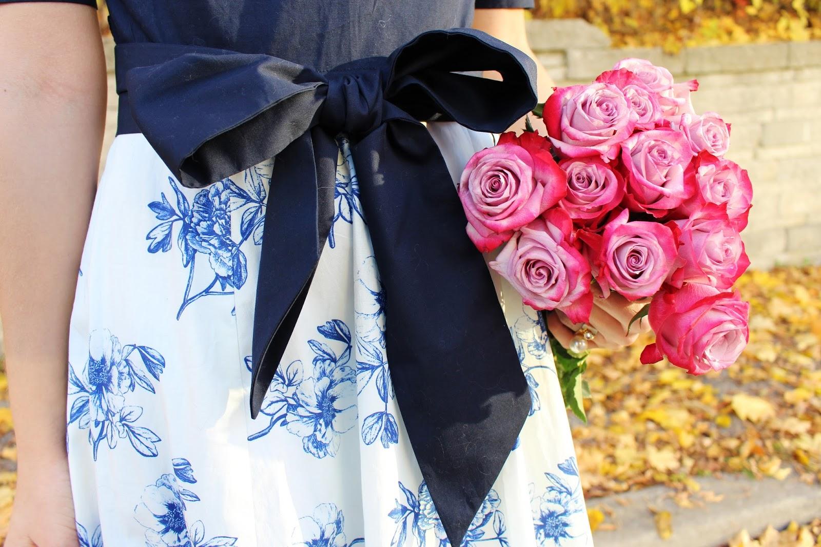 Bijuleni - eShakti floral blue dress with sparkly Topshop heels