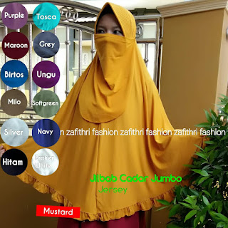 jilbab syar'i cadar polos bahan jersey