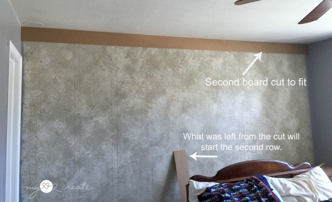 adding the second board on a plank wall
