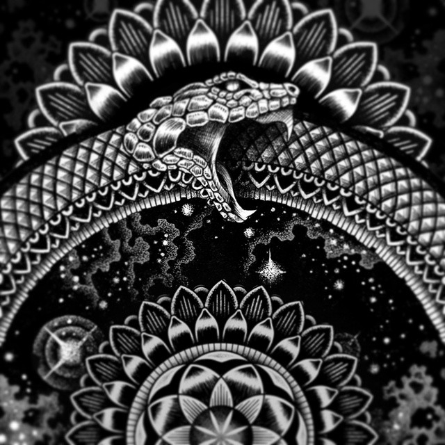 09-Infinity-Snake-Tony-Graystone-Neon-Mystic-Black-and-White-Drawings-www-designstack-co