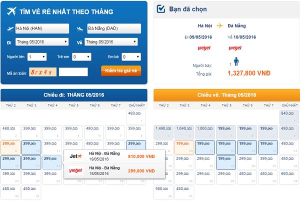 Giá vé Hà Nội đi Đà Nẵng