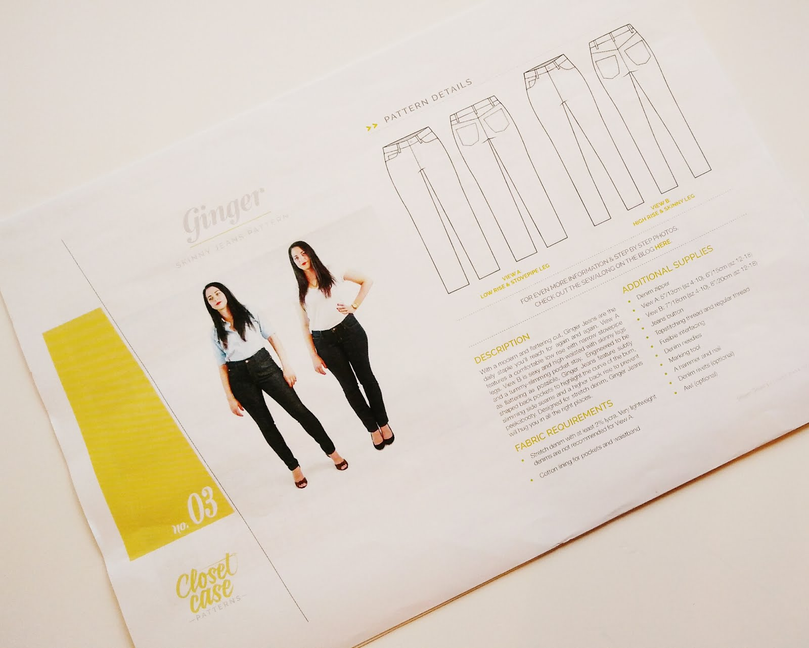 Mid rise skinny Ginger jeans instructions