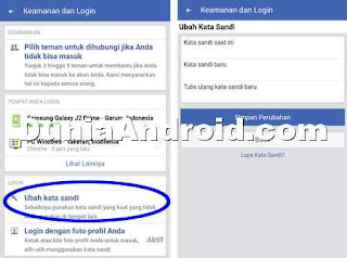 Menu ubah password di FB lite android