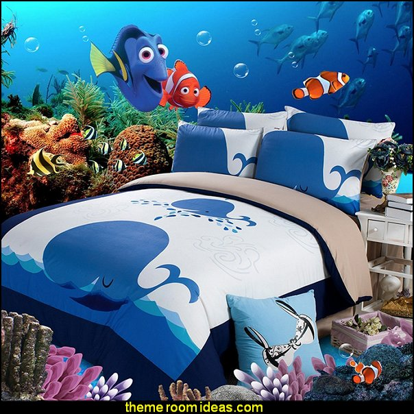 Whale Pattern Bedding Sets for Kids  whale theme bedroom ideas - whale theme decor - whale wall murals - underwater theme bedrooms - whale theme nursery.- whales bedding - whales wall decal stickers - boat beds -