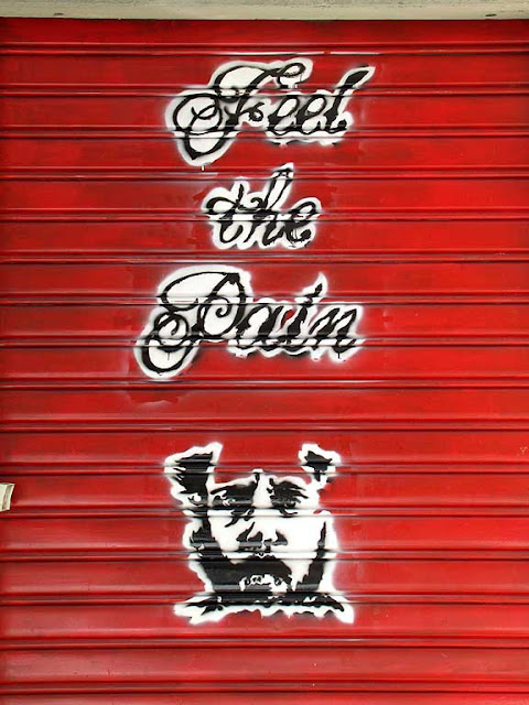 Feel the Pain ad, tattoo parlor shutter, via Paoli, Livorno