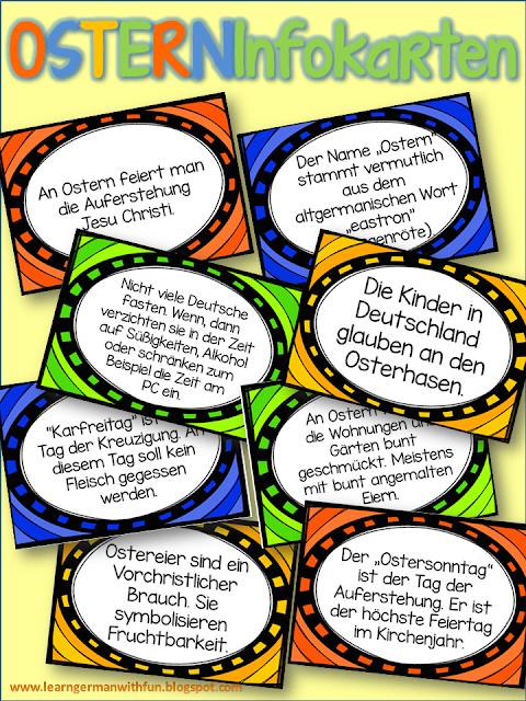Osterinfokarten für den Unterricht. Mit Wissenswertem über Ostern in Deutschland. Ideal für DaF zu Vermittlung von Wissen zu Osterbräuchen.