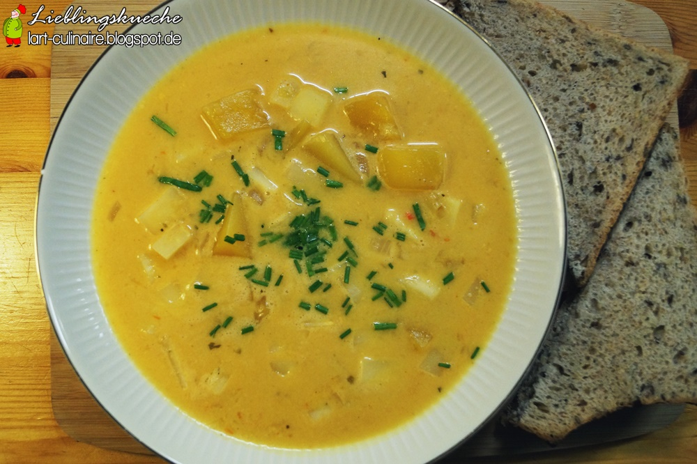 Scharfe Mango-Pastinaken-Suppe mit Kokosmilch