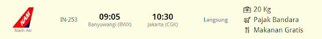 Harga tiket Banyuwangi (BWX) ke Jakarta (CGK), Jam Terbang Banyuwangi (BWX) ke Jakarta (CGK)
