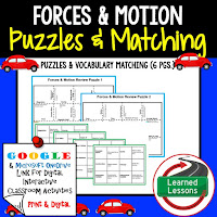 Forces and Motion, Compounds, Reactions, Physical Science Puzzles, Physical Science Digital Puzzles, Physical Science Google Classroom, Vocabulary, Test Prep, Unit Review