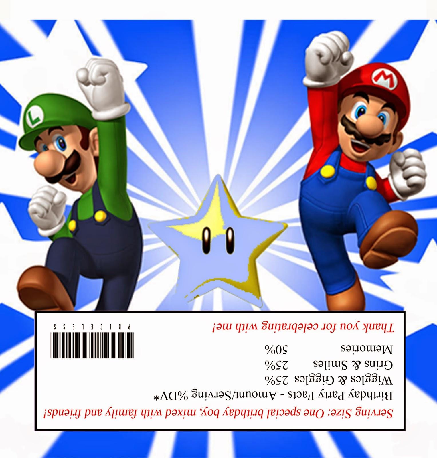 Super Mario Bros Free Printable Chocolate Wrapper