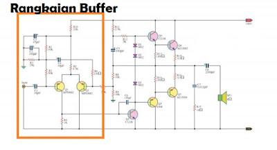 Rangkaian skema buffer amplifer