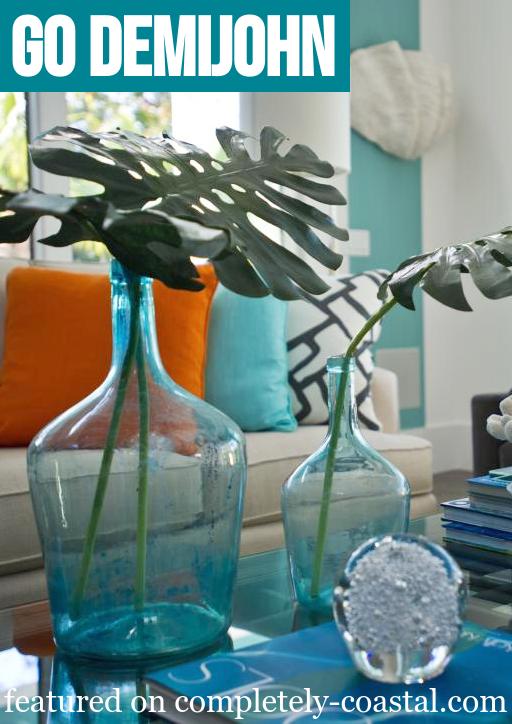 Large Demijohn Blue Glass Vases