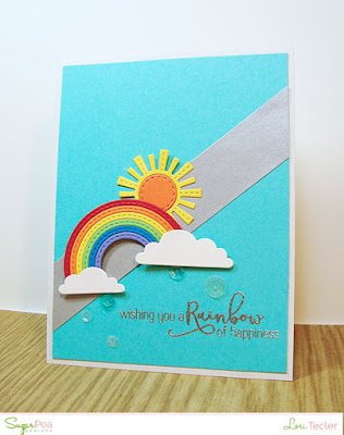 A Rainbow of Happiness card-designed by Lori Tecler/Inking Aloud-stamps and dies from SugarPea Designs