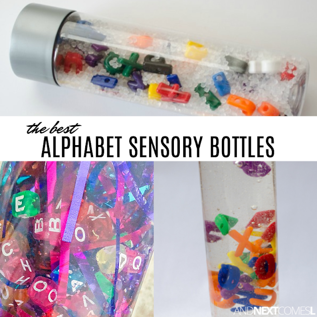 Alphabet calming bottles for autism and hyperlexia