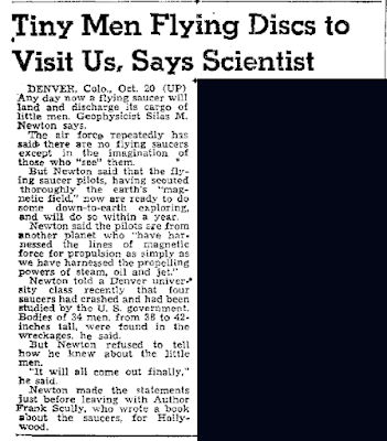 Tiny Men Flying Discs To Visit Us, Says Scientist - Ogden Standard-Examiner 10-20-1950