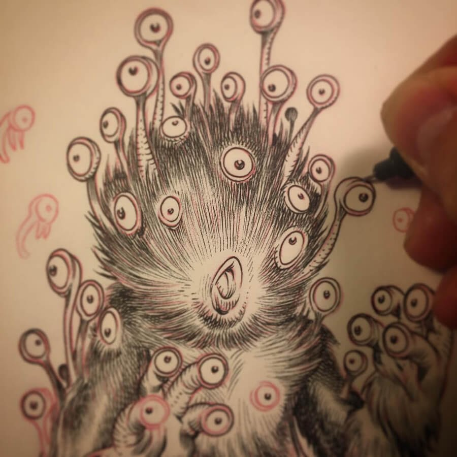 12-Multi-eyes-monster-Stan-Manoukian-www-designstack-co