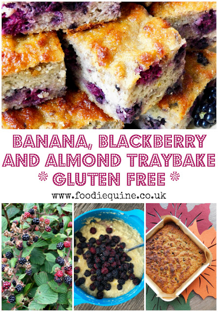 www.foodiequine.co.uk This gluten free Autumnal bake is ideal to use up black bananas which otherwise may go to waste. Combined with brambles (blackberries) forraged from the hedgerows it's an economical treat. Moist and moreish, Banana, Bramble and Almond Traybake is perfect served with a cuppa or as a dessert with lashings of custard.