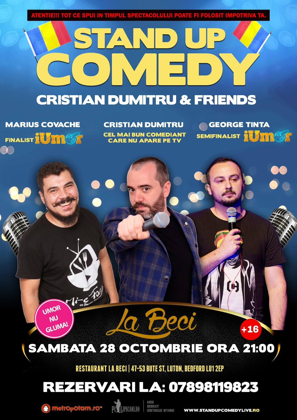 Stand-Up Comedy Anglia Luton Sambata 28 Octombrie 2017