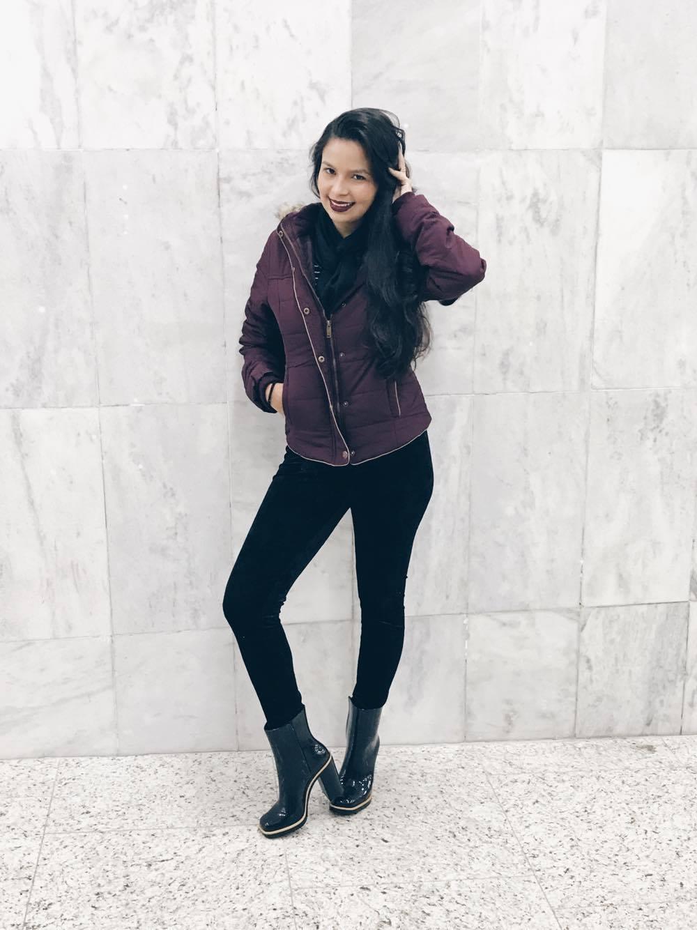 Calça veludo molhado e Classic boot Melissa