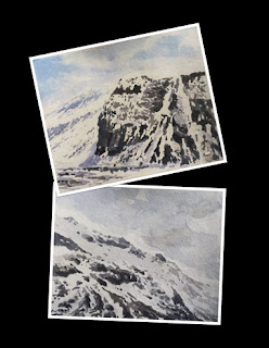water colour study work of a scene from Zero point, North Sikkim