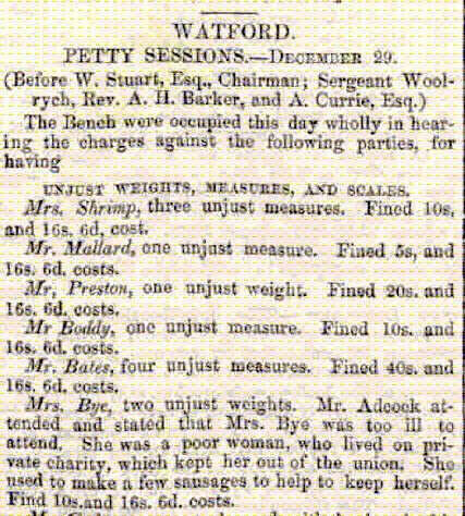 Weights and Measures offences at Watford in 1857