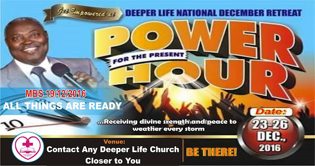 ALL THINGS ARE READY -Luke 14:15-24 deeper life retreat