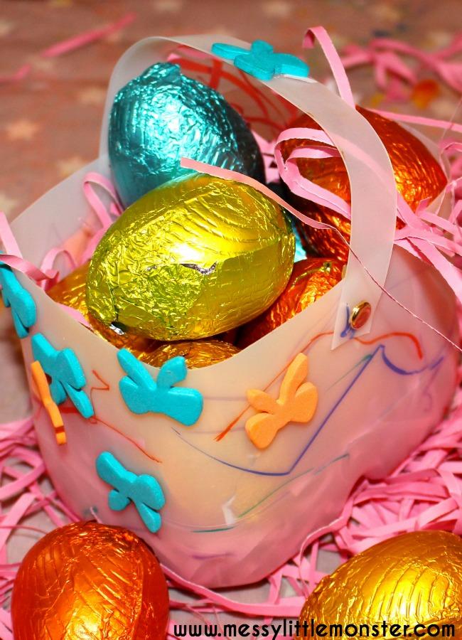 Plastic bottle Easter basket craft for kids. An easy Easter activity for toddlers, preschoolers and older children.