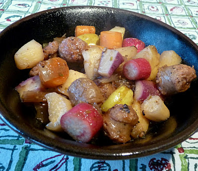 Sausage Radish and Apple Stew