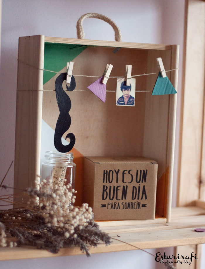 Esturirafi blog ecol gico diy c mo decorar una caja - Como decorar una pared de madera ...