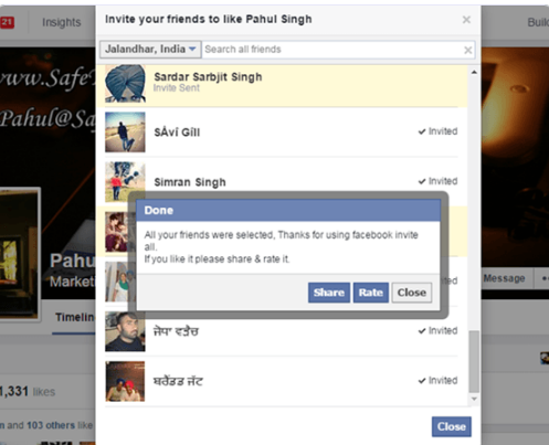 How to invite all friends to like the page on Facebook (click only) - 2017