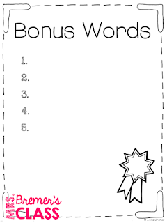 FREE spelling test, bonus words, and pretest templates!