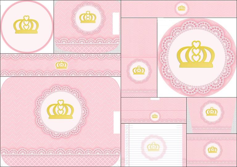 Corona Dorada y Encaje Rosa: Etiquetas para Candy Bar para ...