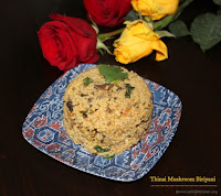 images of Thinai Mushroom Biriyani / Foxtail Millet Biriyani / Millet Birtani- Millet Recipes