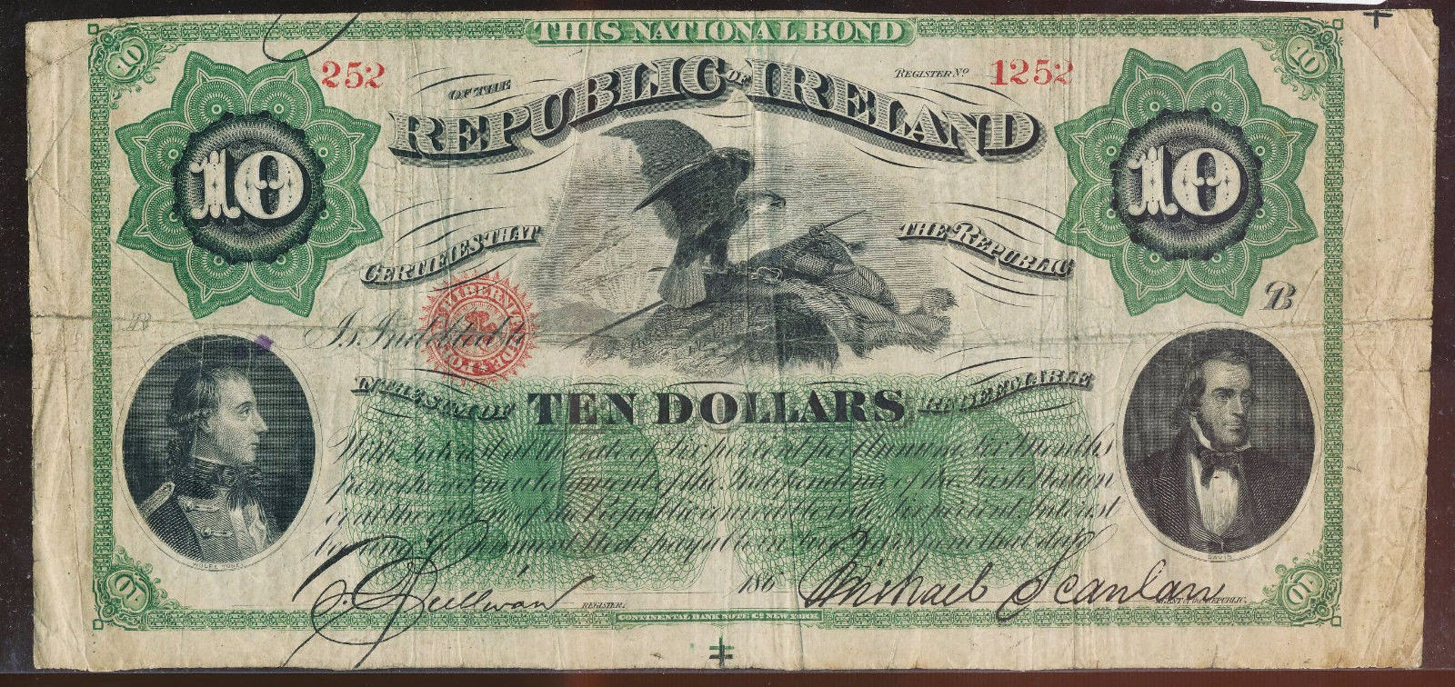 Irish Republic currency 10 Dollars Note 1866 Fenian Bond