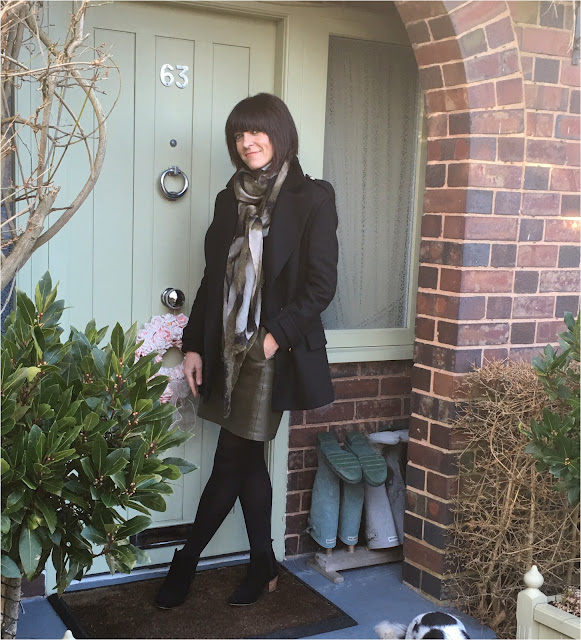 My Midlife Fashion, Zara Reefer Jacket, Khaki, zara pleather a line skirt, mango ankle boots, marks and spencer pure cashmere crew neck jumper