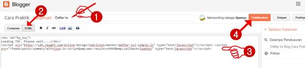 """Membuat daftar isi berdasarkan label pada halaman blog mode """"HTML"""""""