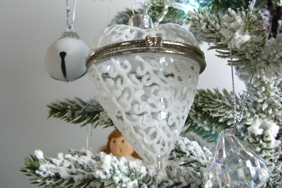 an image of vintage lace glass heart tree decoration