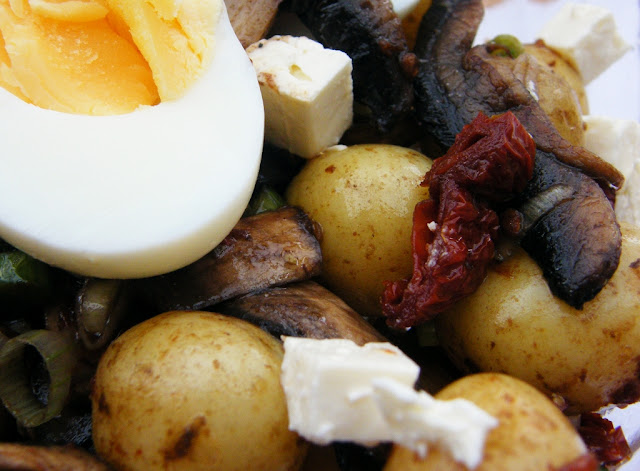 Close up of  Hearty Potato, Egg & Feta Salad