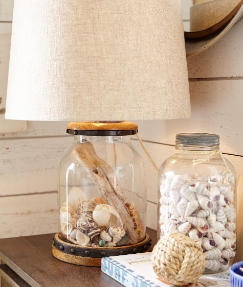 Nautical Glass Table Lamp that can be Filled