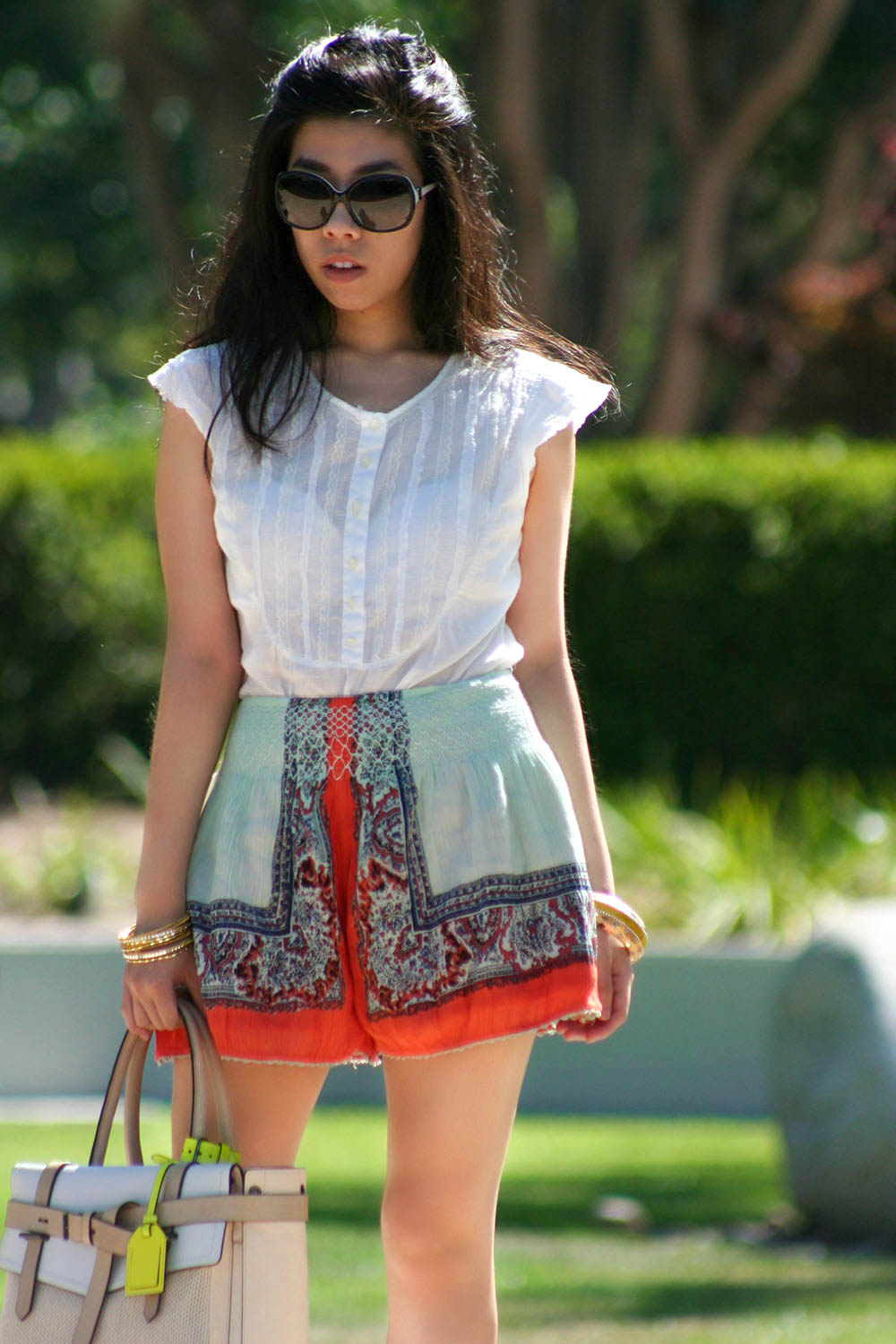 DKNY white peasant top with bib and lace ruffle details_free people green flare shorts_adrienne Nguyen_Invictus_california fashion blogger