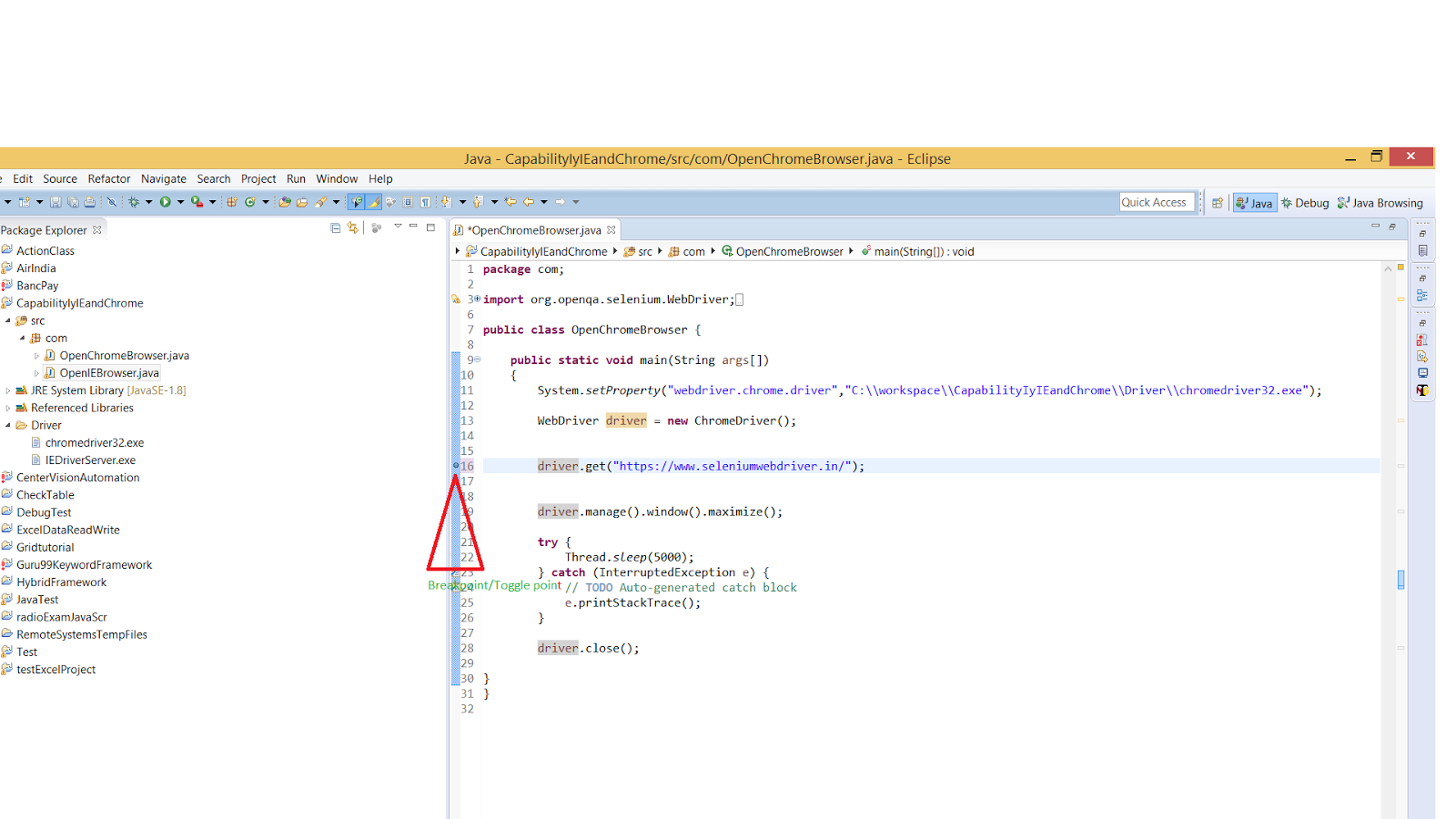 DEBUGGING JAVA CODE IN ECLIPSE 1 | Selenium WebDriver