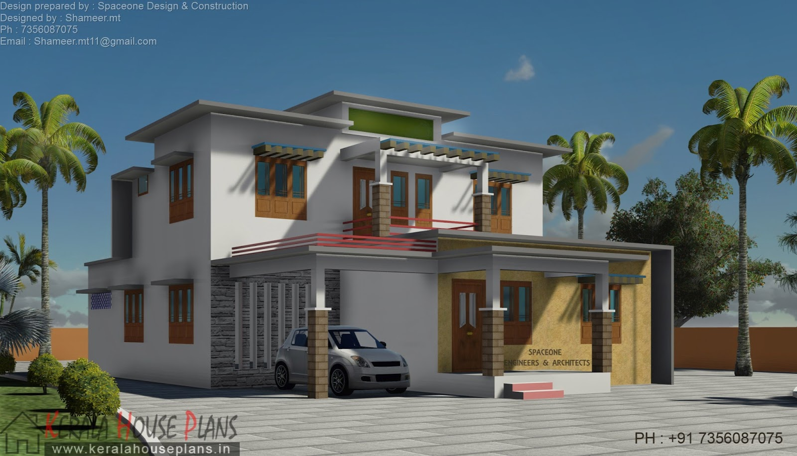 2170 sqft modern flat roof house with pergola kerala for Kerala home design flat roof elevation