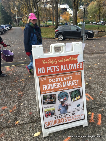 sign at Portland Farmers Market in Portland, Oregon