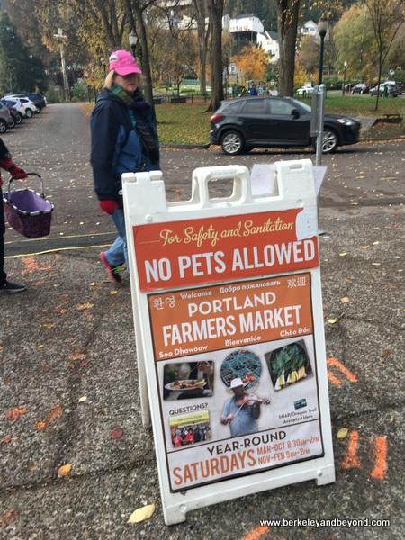 sign at Portland Farmers Market in Portland, Oregon
