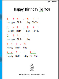 Not Angka Lagu Happy Birthday To You