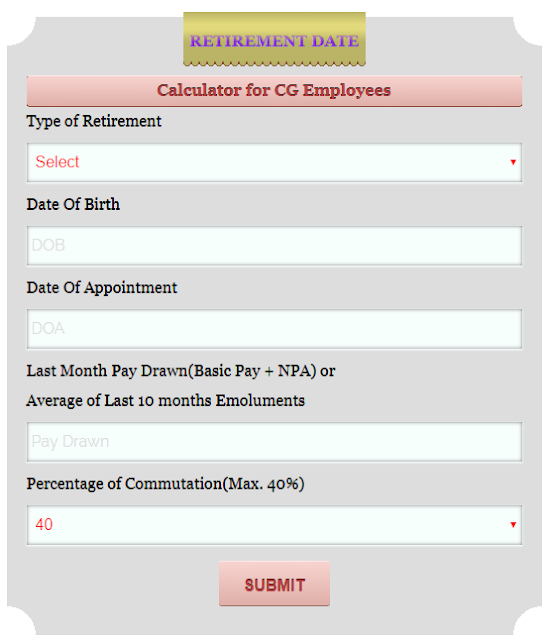 retirement date calculator for central government employees