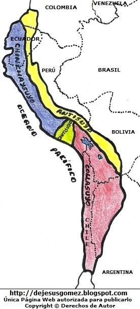 Imagen del Mapa del Tahuantinsuyo a colores. Dibujo del Mapa del Tahuantinsuyo indicando nombres hecho por Jesus Gómez