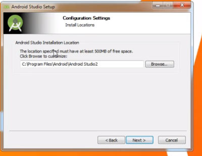 Configuration settings choose android studio installation location